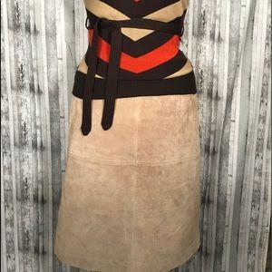 Newport News leather skirt size 12 tan beige